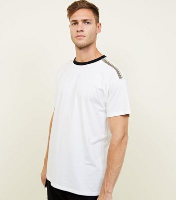 White Stripe Shoulder Ringer T-Shirt
