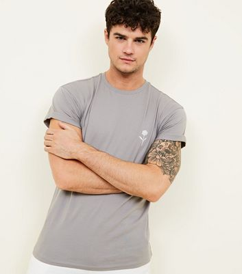 Pale Grey Solid Rose Embroidered T-Shirt