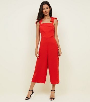 Red Bow Strap Cropped Jumpsuit