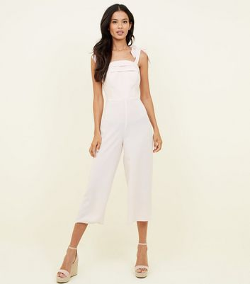 Pale Pink Bow Strap Cropped Party Jumpsuit by New Look