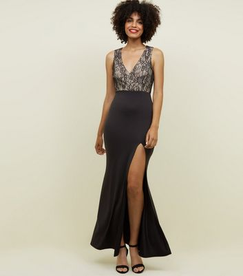 Black Lace Bodice Maxi Dress