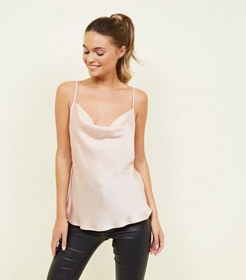 Pale Pink Satin Cowl Neck Cami