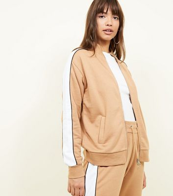 Camel Side Stripe Zip Through Sweatshirt