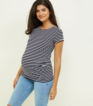 Maternity Blue Stripe Short Sleeve T-Shirt