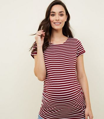 Maternity Red Stripe Short Sleeve T-Shirt