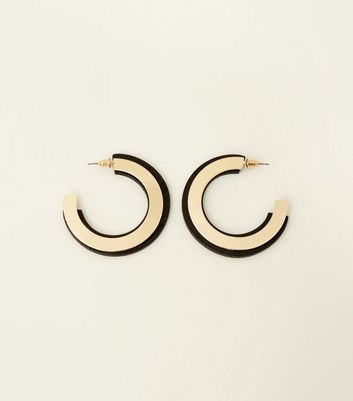 Cream Contrast Half Hoop Earrings