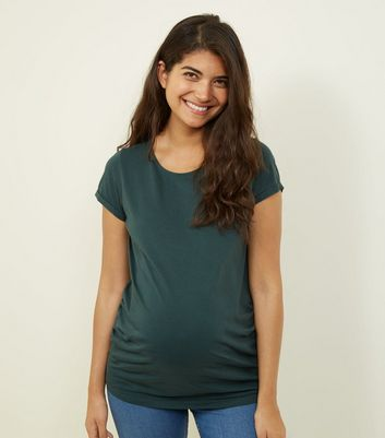 Maternity Dark Green Short Sleeve T-Shirt