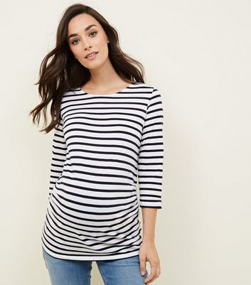 Maternity Blue Stripe 3/4 Sleeve T-Shirt