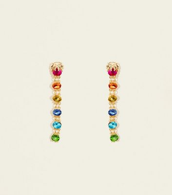 Multicoloured Stone Drop Earing