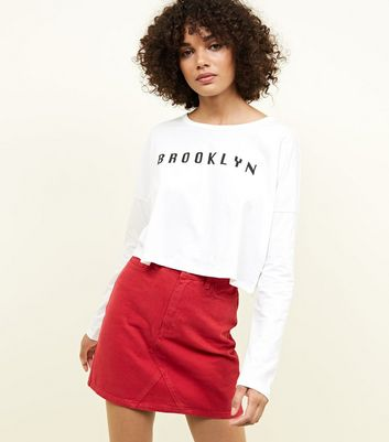 Noisy May Brooklyn Slogan Crop T-Shirt