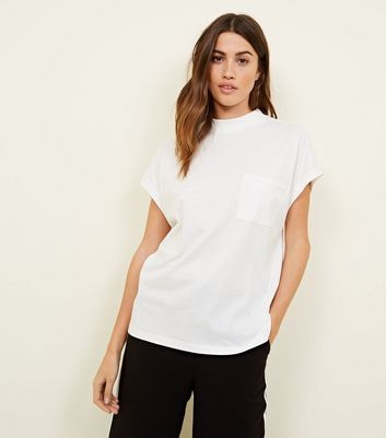 Noisy May White High Neck Short Sleeve T-Shirt