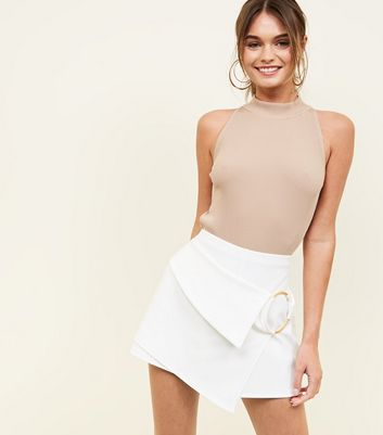 White Ring Wrap Front Party Skort