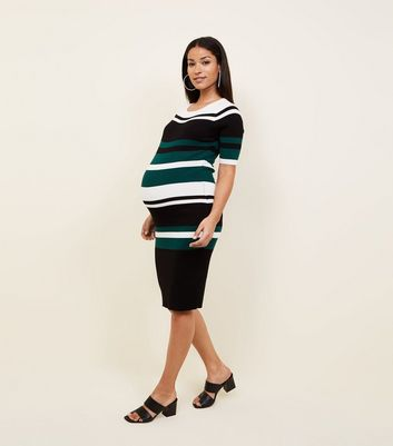 Maternity Green Stripe Dress