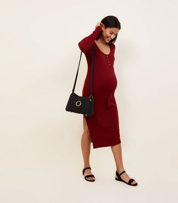 Maternity Burgundy Ribbed Midi Dress