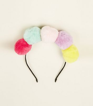 Multicoloured Faux Fur Pom Pom Headband