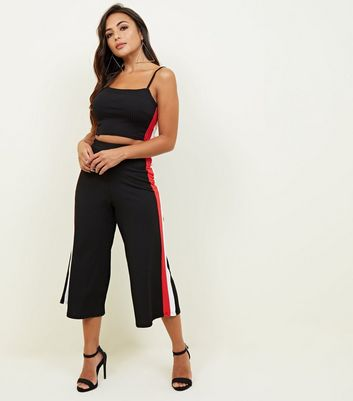 Petite Black Side Stripe Ribbed Crop Cami