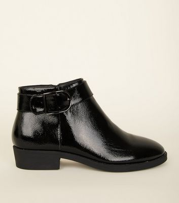 Black Patent Buckle Ankle Boot