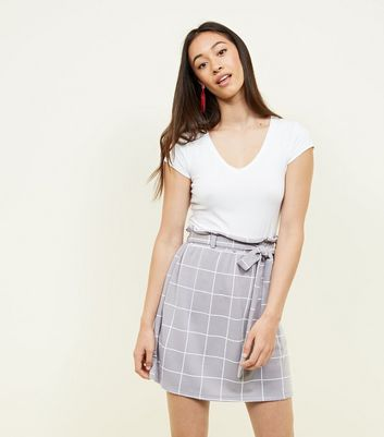 Tall Light Grey Check Paperbag Waist Mini Skirt