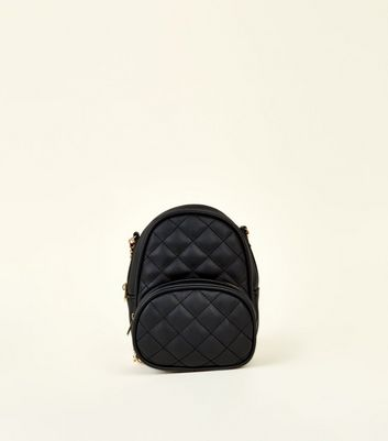 Black Quilted Mini Back Pack Cross Body Bag