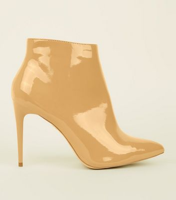 Camel Patent Stiletto Heel Ankle Boots by New Look