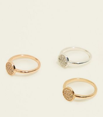 3 Pack Cubic Zirconia Disc Rings