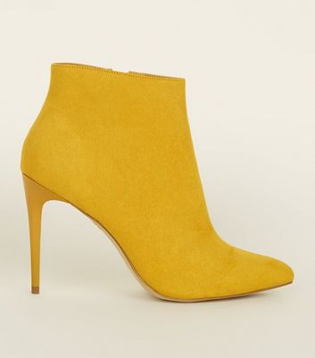 Yellow Suedette Stiletto Heel Pointed Ankle Boots