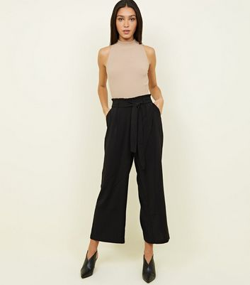 Tall Black Cropped Wide Leg Trousers by New Look