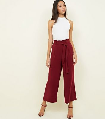 Tall Burgundy Cropped Wide Leg Trousers