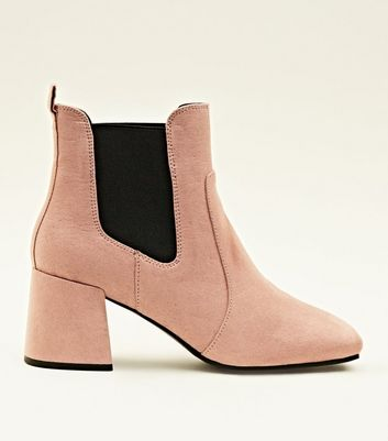 Pink Suedette Square Toe Heeled Chelsea Boots