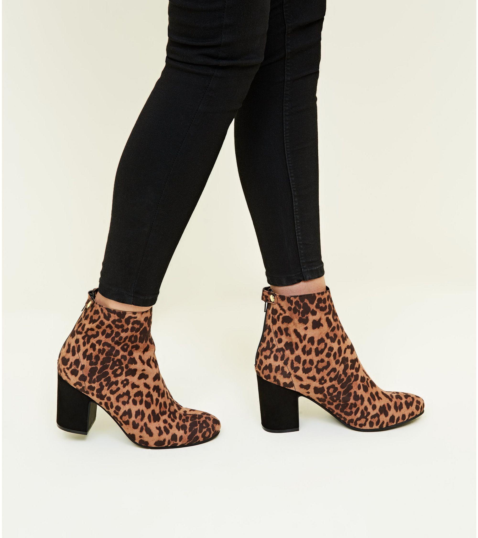 fadb03e01074 New Look Tan Leopard Print Block Heel Ankle Boots at £20