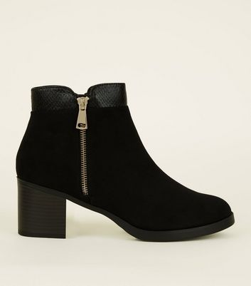 Black Comfort Suedette Mid Heel Ankle Boots by New Look