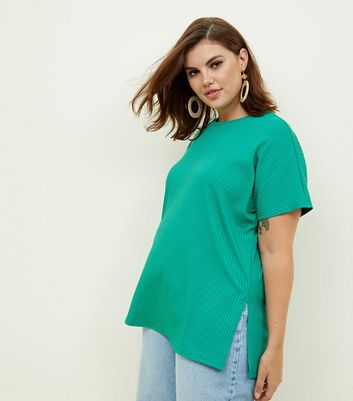 Curves Green Ribbed Split Side Tunic Top