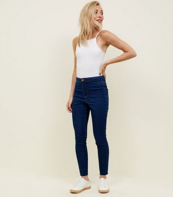 Petite Blue Rinse Wash High Waist Super Skinny Jeans