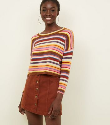 Rust Button Front A-Line Denim Skirt