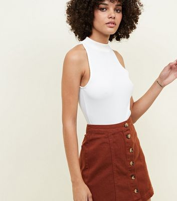 Brown Button Front A-Line Denim Skirt