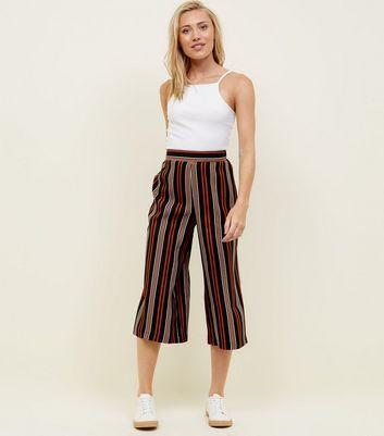 Petite Black and Rust Stripe Crop Wide Leg Trousers