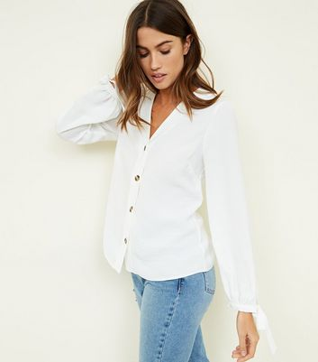 Off White Tie Cuff Button Front Shirt