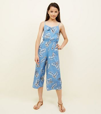 Teens Blue Tropical Bow Front Jumpsuit