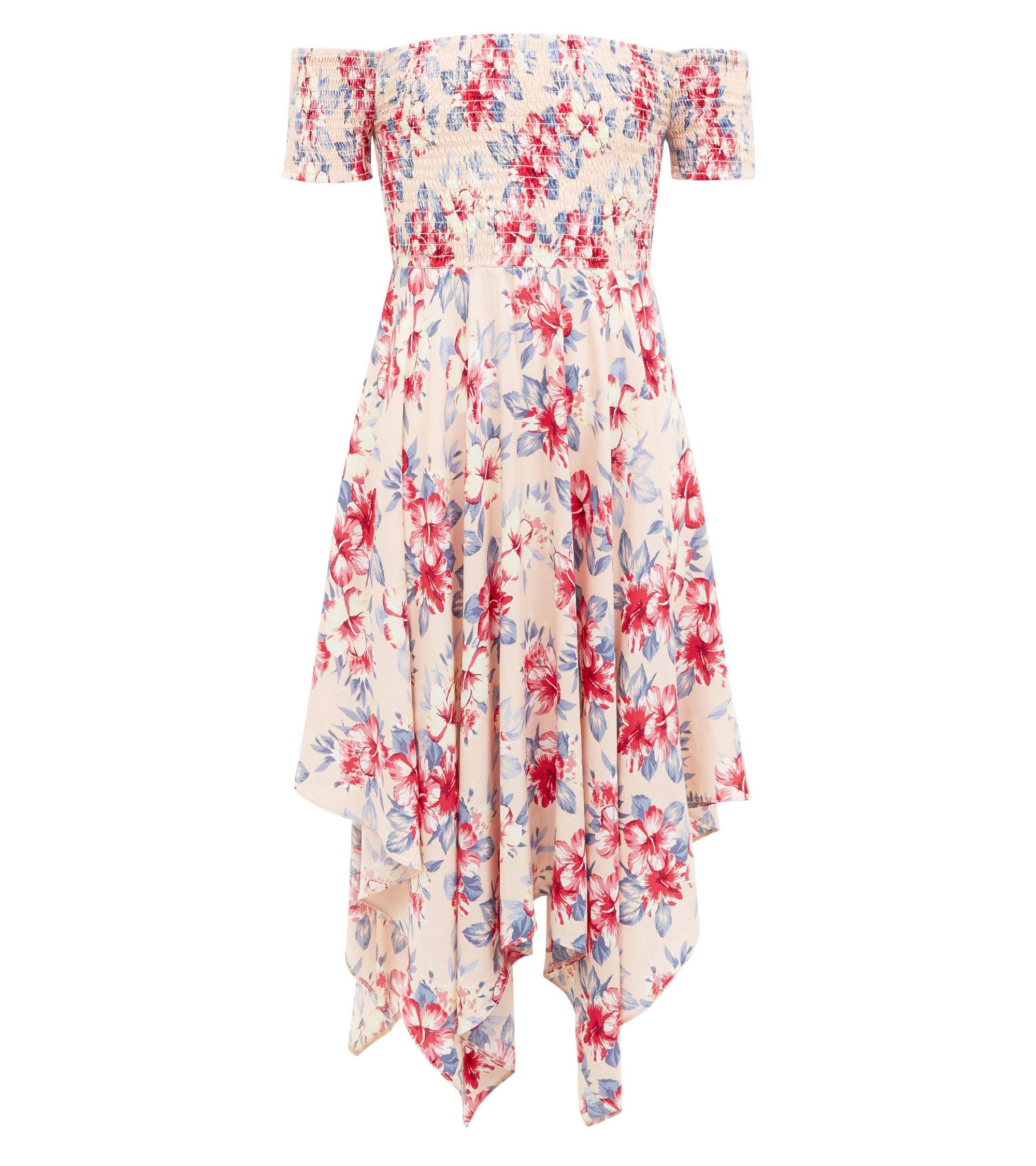ade56148ae1d New Look Girls Pink Tropical Print Hanky Hem Bardot Dress at £19.99 ...