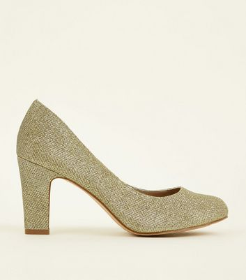 Wide Fit Gold Glitter Block Heel Court Shoes