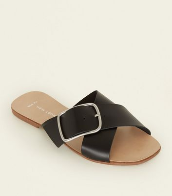 Wide Fit Black Leather Cross Strap Mules