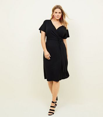 Curves Black Ribbed Wrap Midi Dress
