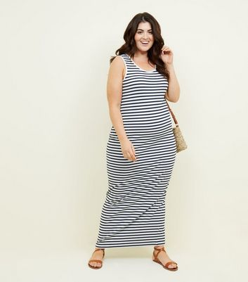 Curves White Stripe Jersey Maxi Dress