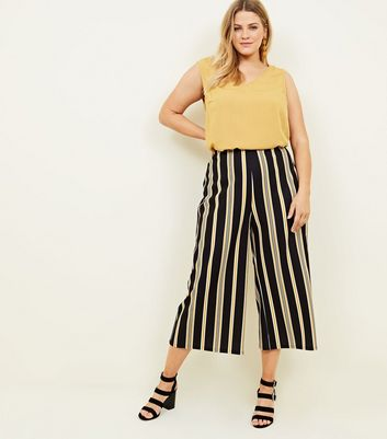 Curves Black Stripe Scuba Cropped Trousers
