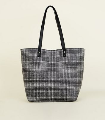 Black Check Tote Bag