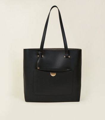 Black Leather-Look Tote Bag