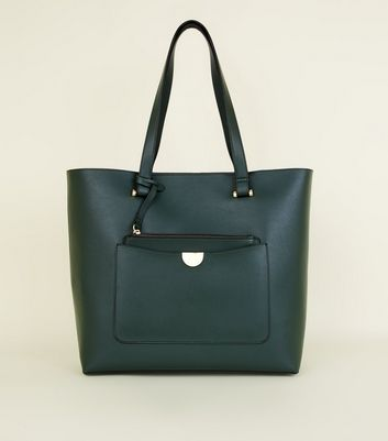 Dark Green Leather Look Tote Bag by New Look