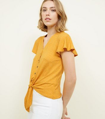 Yellow Spot Print Button Tie Front T Shirt by New Look