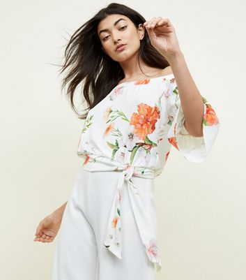 White Floral Bell Sleeve Bardot Top