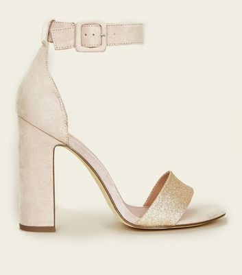 Nude Suedette Glitter Strap Two Part Heels